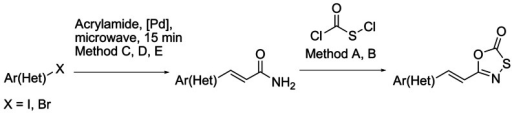 General synthetic route for the preparation of 5-styryl-oxathiazolones.