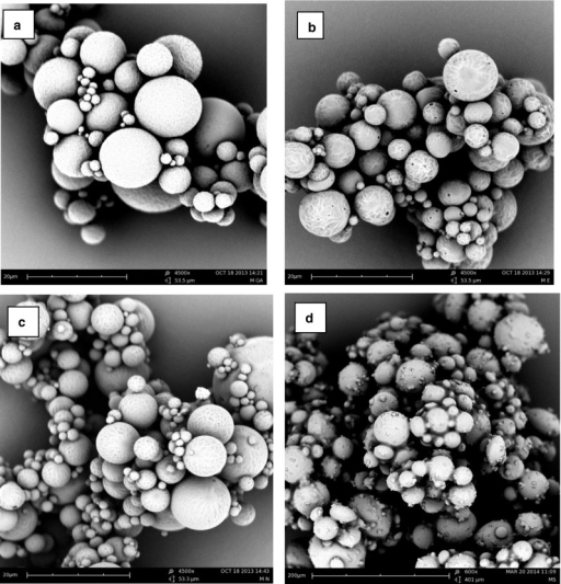 SEM pictures of octreotide loaded microspheres based on (a) PLGA, (b) PLHMGA, (c) PLGHMGA, (d) (PC-PEG-PC)-(PL).