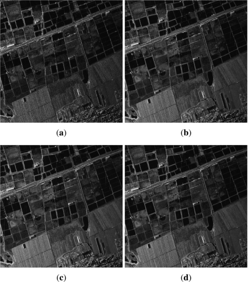 Results of real SAR imaging without strong point target: (a) imaging result of sub-band signal; (b) imaging result of reconstruction with relative calibration; (c) imaging result of reconstruction of first-order TRPGA; (d) imaging result of reconstruction of two-order TRPGA.