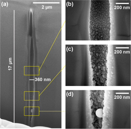 SEM images of an elongated void structure in the bulk of sapphire for picosecond regime illumination.Parameters were 2 μJ pulse energy and of 3 ps duration, and using linear polarisation. (a) Shows full structure while (b–d) show magnified areas. The void morphology greatly differs from the one of femtosecond regime.