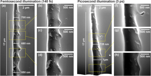 Scanning electron microscope images of the void channels after HF etching.(a–d) Femtosecond regime (channel presented in Figs 1 and 3), (e–h) picosecond regime (channel presented in Fig. 4).