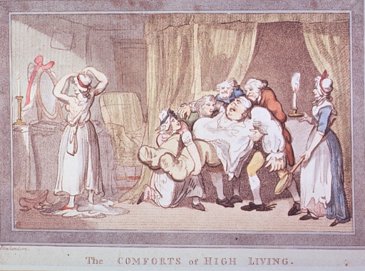 <p>An overweight, gouty man wearing bed clothes is being carried by several servants; a young woman to the left is getting dressed; a chambermaid stands to the right holding a candle and a bed warming pan.</p>