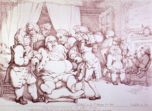 <p>An obese, gouty, old man is sitting in a chair attended to by several physicians, two of which are taking his pulse; another group of physicians sits by the fireplace enjoying tea.</p>