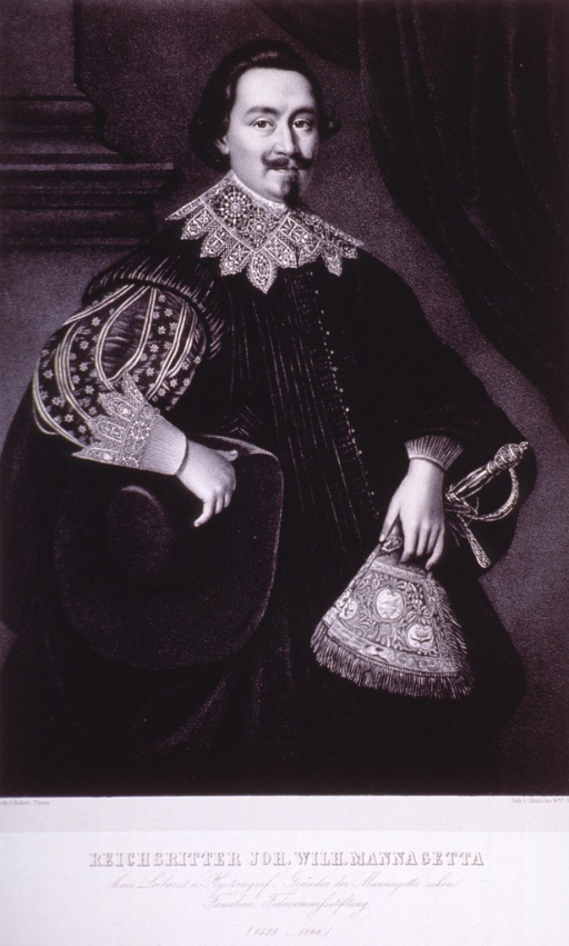 <p>Standing, three quarter length; right pose.  Hat in one hand; other holding sword.  Lace collar and cuffs on velvet gown.  German inscription.</p>