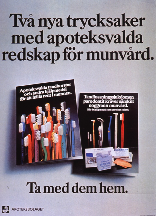 <p>Gray poster with black and white lettering.  Title at top of poster indicates that two new brochures about oral hygiene products are available.  Visual image is a color photo reproduction showing the brochures.  One features a variety of toothbrushes, the other shows dental mirrors and gum stimulating devices.  Caption below photo encourages viewer to take the brochures home.</p>