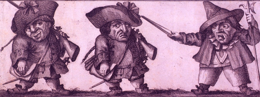 <p>Caricatures of three male figures; two of the men are carrying firearms, and the third man is carrying a sword and a lance.</p>