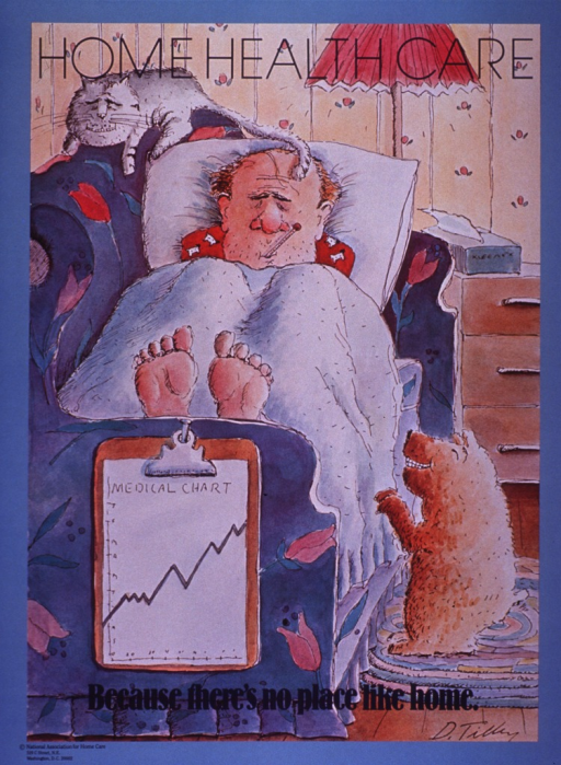 <p>Multicolor poster with black and blue lettering.  Title at top of poster.  Visual image is an illustration of a sick man lying on his couch.  He has a thermometer in his mouth and a medical chart hangs off the arm of the couch.  A cat lounges on the top of the couch and a dog tries to get the man's attention.  Caption near bottom of illustration.  Publisher information in lower left corner.</p>