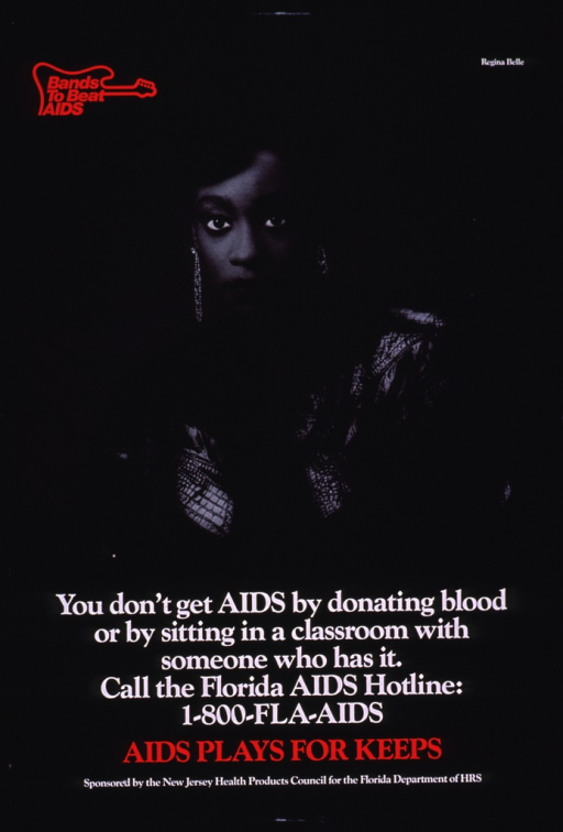 <p>Predominantly black poster with red and white lettering.  Note in upper left corner, incorporated into a guitar-shaped logo.  Visual image is a b&amp;w photo reproduction featuring Regina Belle, a pop singer.  Title and caption superimposed on lower portion of photo.  Sponsor and publisher information at bottom of poster.</p>