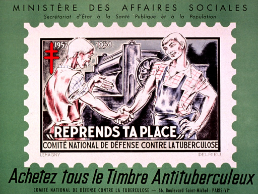 <p>Predominantly green poster with black and white lettering.  Sponsor information at top of poster.  Visual image is a reproduction of the 1957-1958 antituberculosis stamp.  It depicts an older man and a younger man shaking hands as they stand in front of some industrial equipment.  Note text at bottom of illustration urges retaking one's place, perhaps in the sense of returning to work.  Title and publisher information at bottom of poster.</p>