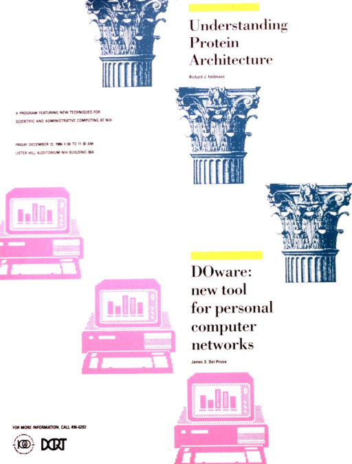 <p>Architecture is represented visually by three ornate columns.  Three personal computers represent DOware, the new tool for personal computer networks.</p>