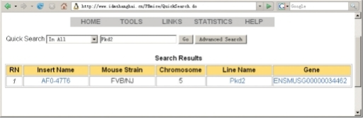 An example of the Search Result interface, using search term Pkd2.