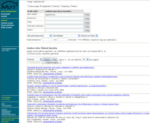 PubMed search interface. The advanced search options are available in the upper section. Besides search field descriptions (title, abstract and text word), several filters are available: publication types, age criteria, humans/animal and Clinical Queries filters. The PubMed search result for hypertension is shown in the lower section.