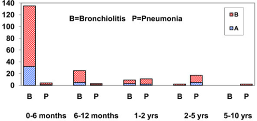 Bronchiolitis and pneumonia (No.) caused by respiratory syncytial virus in Croatia in 2006 and 2007 by viral subtype and age.