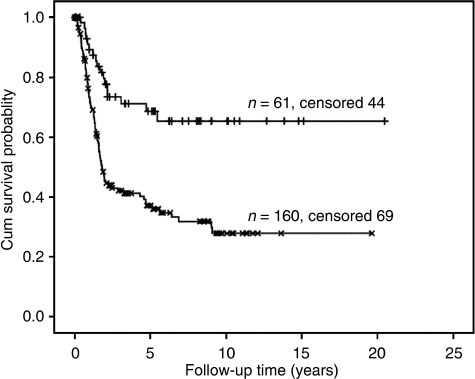 Overall survival related Kaplan–Meier survival curves of patients stratified by DNA ploidy status ICM-DNA diploid+tetraploid (n=61) and ICM-DNA aneuploid (n=160) gastric cancers taking into account 9c exceeding rate. Log rank: 16.9, P<0.001, Hazard ratio: 2.8 (95% confidence interval: 1.7–4.7).