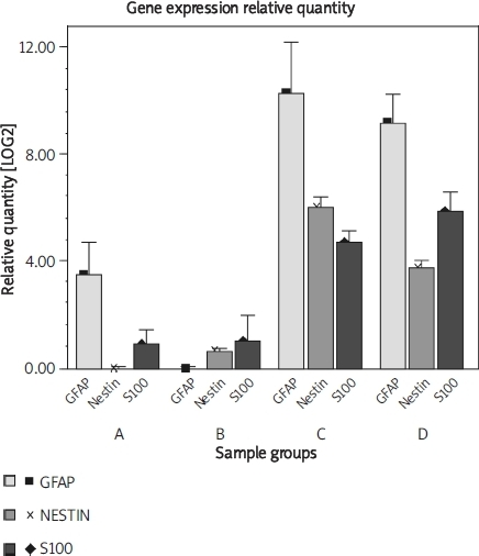 In the graph, bar height represents the gene expression relative quantity (mean ± SEM). For GFAP and S100 gene expression relative quantity, statistic analyses show no statistical differences between group A and B, C and D, respectively (P > 0.05), but group C and D have significantly statistical differences as compered with group A and B (P < 0.05); for Nestin gene expression relative quantity, there are no statistical differences between group A and B (P > 0.05), but there are statistical differences between group C and D (P < 0.05), and the results of group C or D are significantly higher than those of group A or B (P < 0.05)