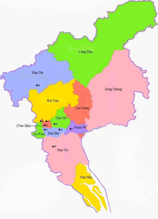 District map of Guangzhou, China, with monitoring stati   Open-i