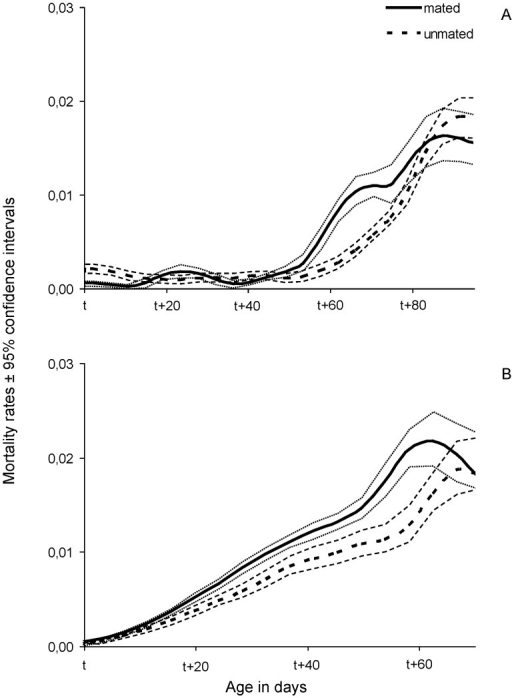 Smoothed mortality rates with 95% confidence intervals of females fed a full diet that mated (continuous line) or remained unmated (dotted line) at t = 15 (A) and t = 40 (B) days.
