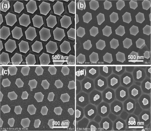 Ordered and aligned ZnO nanorod arrays on the p-GaN substrates grown at 50°C for 6 h. With the reactant concentration of (a) 0.05 M and (b) 0.035 M by using 500 nm PS microspheres without RIE; (c) 0.05 M and (d) 0.035 M by RIE of 500 nm PS microspheres for 1.5 min.
