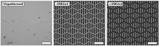 Confocal microscopy images of a) unpatterned controls b)-3SK2x2 and c) +3SK2x2 Sharklet micropatterns replicated in TPU. Representative images of the surfaces analyzed in this study. Scale bar, 20 μm.