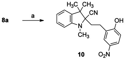 Formation of 1H-indole-2-carbonitrile 10. Reagents and conditions: a) THF, NaCN, H2O, rt, 1 h.