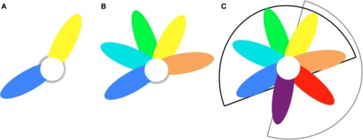 Petal model to describe disease heterogeneity within and between samples. (A) Two-fold heterogeneity sample consists of blue and yellow subsamples that have shared (white) and unique (colored) brain abnormalities. (B)H-fold heterogeneity sample consists of H = 5 subsamples that have shared (white) and unique (colored) brain abnormalities. (C) Train/test heterogeneity The model trained on sample B (H = 5; black sector) is tested on a sample with H′-fold heterogeneity (H′ = 4; grey sector). The overlap is T-fold (T = 2; yellow and orange petals).