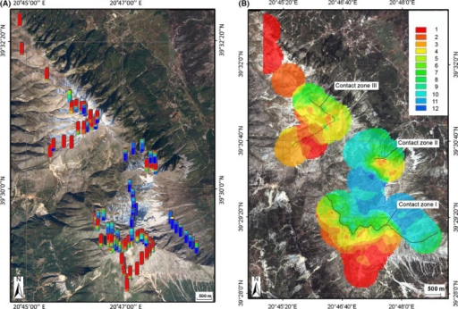 Maps of Mount Tomaros with sampling locations of antenna phenotypes (A) and with interpolated antenna trait values at unsampled sites (B). Hybrid indices from 1 (S. clavatus) to 12 (S. rubicundus) indicated by different colors are shown at the right. Centers of the three contact zones are shown by the black lines.