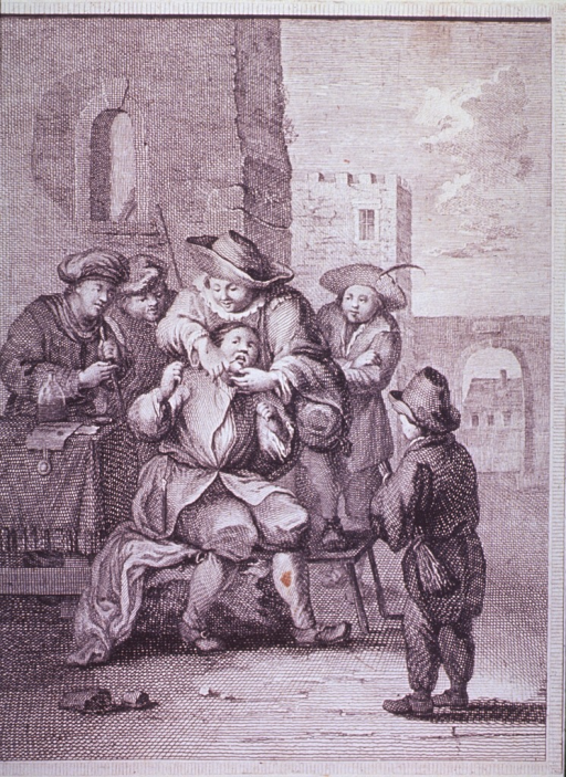 <p>Exterior view showing a courtyard where a small group of people are observing, in awe, a dentist working on a patient sitting on a bench next to a table.</p>
