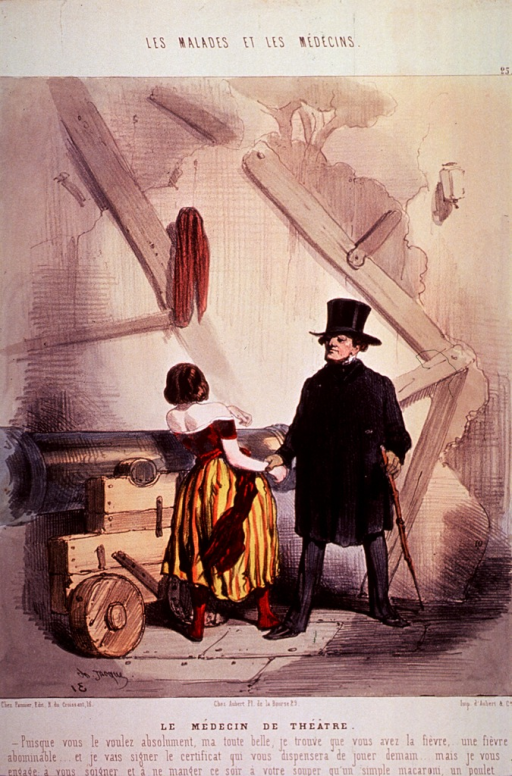 <p>A theatrical scene showing a physician standing tall, firm, and forceful looking in top hat and coat; he is taking the pulse of a young woman who is leaning on a cannon.</p>