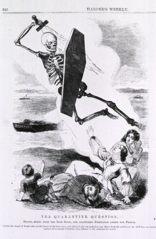 <p>Cartoon with Death scattering pestilence among the people.</p>