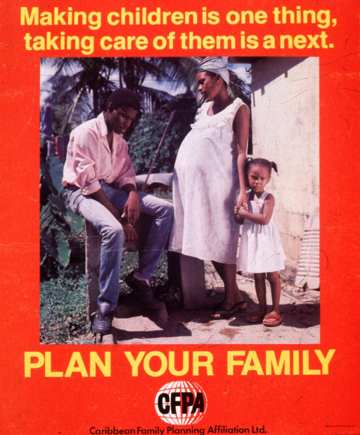 <p>Bright orange poster with yellow and black lettering.  Initial title words at top of poster.  Central visual image is a reproduction of a color photo of a man, a pregnant woman, and a young girl.  The man sits on a bench and lowers his head.  The pregnant woman stands and looks at the man, while the little girl clutches the woman's hand.  Remaining title words below photo.  Publisher information and logo at bottom of poster.</p>