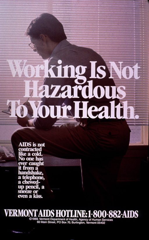 <p>Multicolor poster with white lettering.  Visual image is a color photo reproduction featuring a man in an office.  He stands with one foot on a chair, resting his arm on his thigh, and writes on a clipboard.  Title superimposed on photo near center of poster.  Caption and publisher information below title.</p>