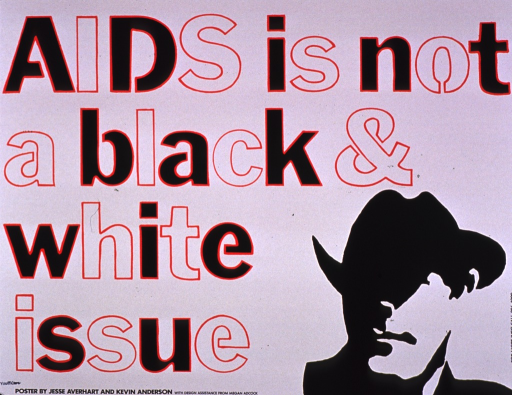<p>Predominantly white poster with multicolor lettering.  Title dominates poster.  Visual image is a silhouette of a man in a hat.  Blurry stamp in lower left corner for YouthCare, a Seattle-based organization for homeless teens.  Phone number on right side of poster possibly for Seattle/King County AIDS Prevention &amp; Control Project.</p>
