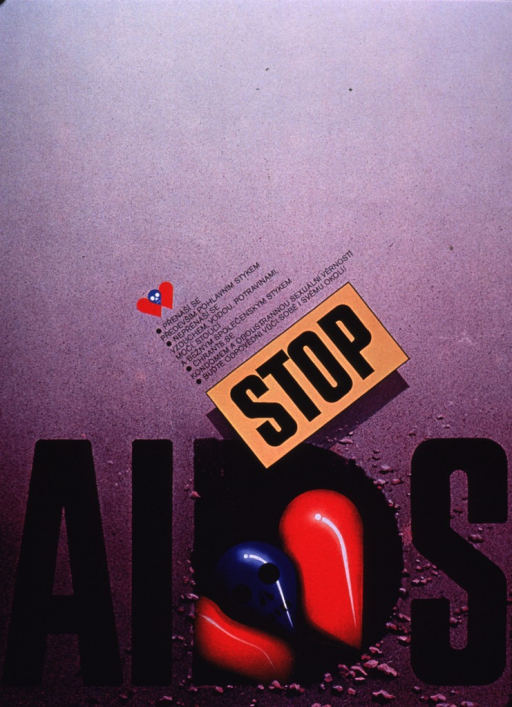 <p>Predominantly purple poster with black lettering.  Visual images are illustrations of a blue skull between two irregular red shapes.  The effect is suggestive of both a heart and a danger symbol.  A small version of the illustration appears near the center of the poster, along with a list of the ways in which AIDS is transmitted and how it can be prevented.  Title text near bottom of poster.  The center of the &quot;D&quot; in AIDS features a larger version of the illustration.  Publisher information on right edge of poster.</p>