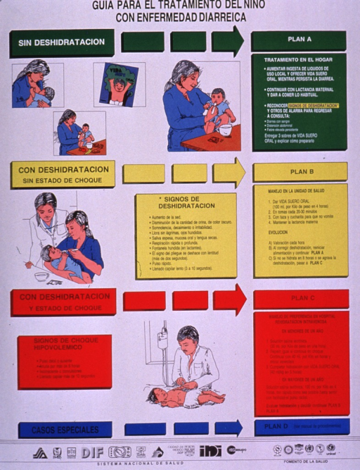 <p>Multicolor poster with black lettering.  Title at top of poster.  Visual images are illustrations of children receiving a range of care for diarrhea, including breastfeeding, spoon feeding, packets of rehydration solution, and intravenous fluid therapy.  Lengthy text, presented as a flow chart, explains symptoms and care for the child without dehydration, with dehydration but not shock, with dehydration and shock, and special cases.  Publisher information and several logos at bottom of poster.</p>