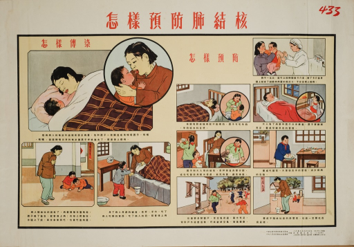 <p>The poster has two groups of images, in color, showing mothers and children. The four images on the left show ways of spreading TB, and the seven images on the right present methods of prevention. Chinese captions are provided below images with explanations and instructions.</p>