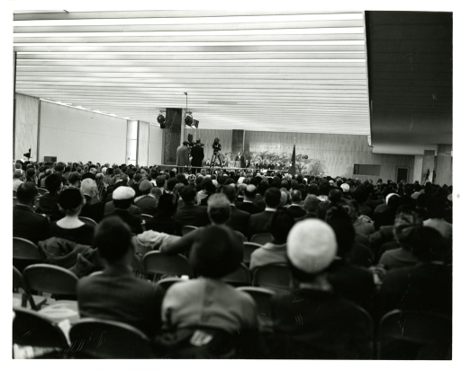 <p>A capacity crowd at the National Library of Medicine Dedication Ceremony listens as Dr. Abraham Ribicoff addresses them.</p>