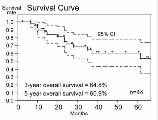 Overall survival rates of the HFRT group. Three-year and 5-year overall survival rates were 64.8% and 60.8%, respectively.