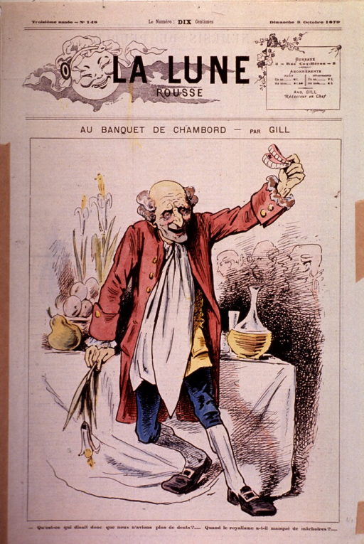 <p>Old man at banquet table, holding up a set of dentures triumphantly.</p>