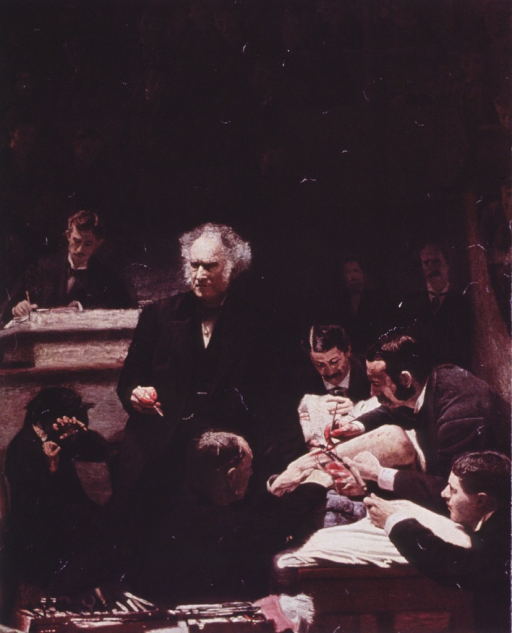 <p>The human anatomy in process of dissection; Gross standing, face front, holding scalpel, hand covered with blood; students observing.</p>