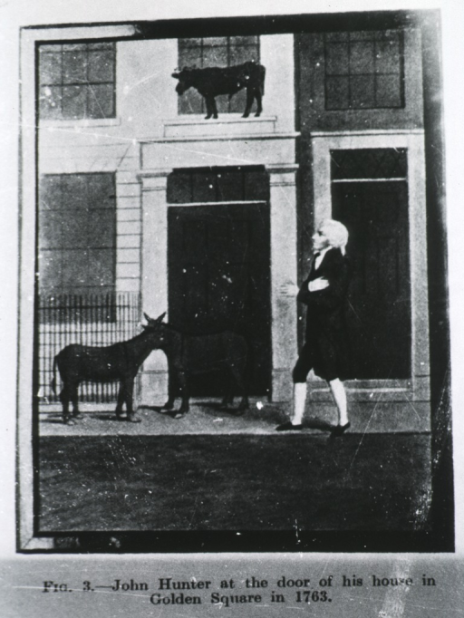<p>John Hunter at the door of his house in Golden Square in 1763.</p>