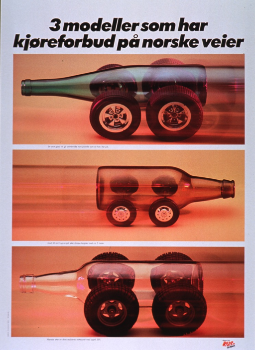 <p>Multicolor poster with black lettering.  Title at top of poster.  Visual images are three color photo reproductions, each featuring a wine or beer bottle mounted on four wheels to look like vehicles.  One phrase of caption text appears below each photo and deals with the effect of alcohol on driving:  a strong glass of wine has the same effect as a half-liter of beer; more stopping time is needed after drinking beer; and drinking reduces night vision by 25%.  Publisher information in lower right corner.</p>
