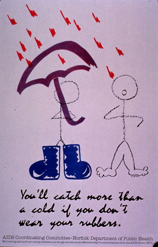 <p>Predominantly white poster with black lettering.  Visual image is a color illustration of two stick figures standing in the rain.  One holds an umbrella and wears a pair of oversized boots.  The other has nothing on but a look of concern as the rain falls on its head.  Title, publisher information, and note below illustration.</p>