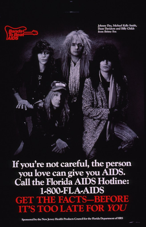 <p>Predominantly black poster with red and white lettering.  Note in upper left corner, incorporated into a guitar-shaped logo.  Visual image is a b&amp;w photo reproduction featuring four members of the musical group Britny Fox.  Title and caption superimposed on lower portion of photo.  Sponsor and publisher information at bottom of poster.</p>