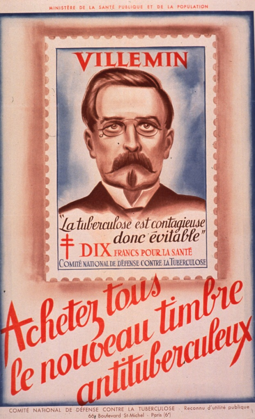 <p>Multicolor poster.  Sponsor information at top of poster.  Visual image is an illustration of an antituberculosis stamp featuring the face of Jean Antoine Villemin.  Villemin was a French physician who proved that tuberculosis was contagious.  Caption text appears on the stamp; it identifies Villemin and states that tuberculosis is contagious but avoidable.  Title below illustration urges buying the new antituberculosis stamp.  Publisher information at bottom of poster.</p>
