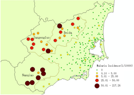 Annual malaria incidence of all 197 villages in Wanning county from 2005 to 2009.
