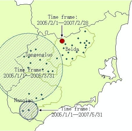 Locations of the detected clusters of malaria cases from 2005 to 2009, based on the space-time analysis.