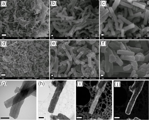 SEM images: as-made PANI nanofibers (a to c) and PANI@titania nanofibers (d to f). (The scale bar is 1 μm for (a) and (d), 100 nm for (b), (c), (e), and (f)). TEM images: as-made PANI nanofibers (g) and PANI@titania nanofibers (h). EELS analysis of PANI@titania nanofibers for C element (i) and Ti element (j). (The scale bar is 200 nm for (g) to (j)) [148].