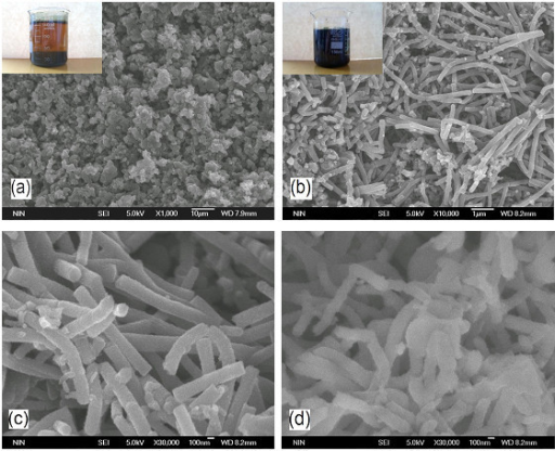 SEM images of samples: (a) granular PANI, (b) PANI nanofibers, (c) high resolution SEM images of PANI nanofibers, and (d) dedoped PANI nanofibers. The beakers shown in the insets contain the resultant granular PANI and PANI nanofiber suspensions, respectively [96].