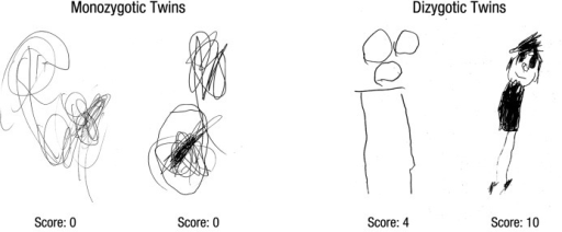 Sample drawings of one pair of monozygotic twins (left) and one pair of dizygotic twins (right), with the scores the drawings received.