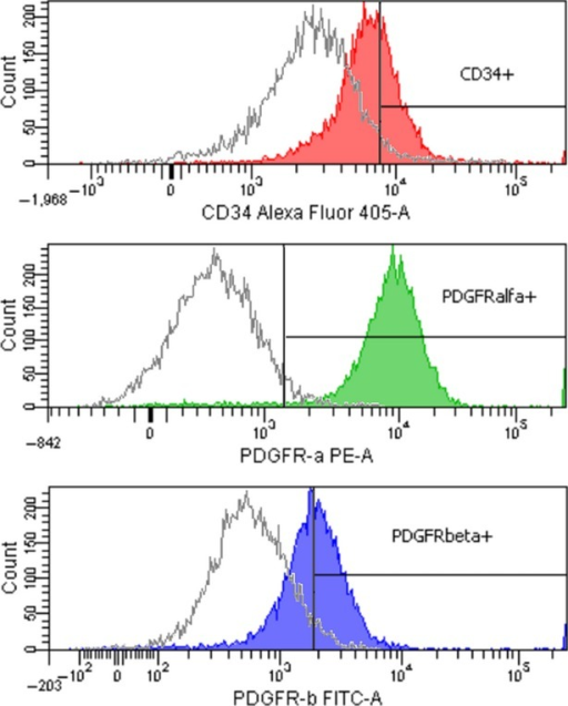 Flow cytometry histograms showing CD34, PDGFR-α and PDGFR-β expression for TC-enriched stromal cells from rat heart. Gates with positive events were drawn based on the unstained samples. Filled histograms represent test samples, and unfilled ones show the fluorescence signal for unstained controls.